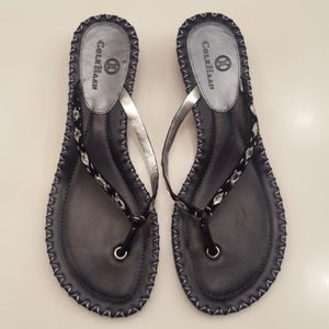 COLE HAAN BLACK JEWELED THONG SANDALS
